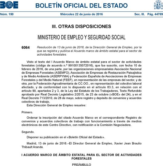 Publicado en BOE el I Acuerdo Marco de ámbito estatal para el sector de las actividades forestales